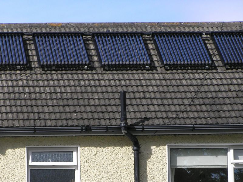 Solar hot water panels on a suburban house roof