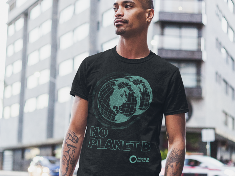 Teemill Tshirt No Planet B male model - square