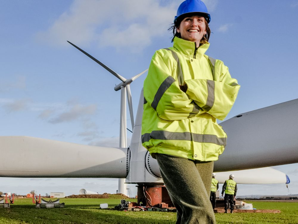 Angela Terry at Westmill windfarm