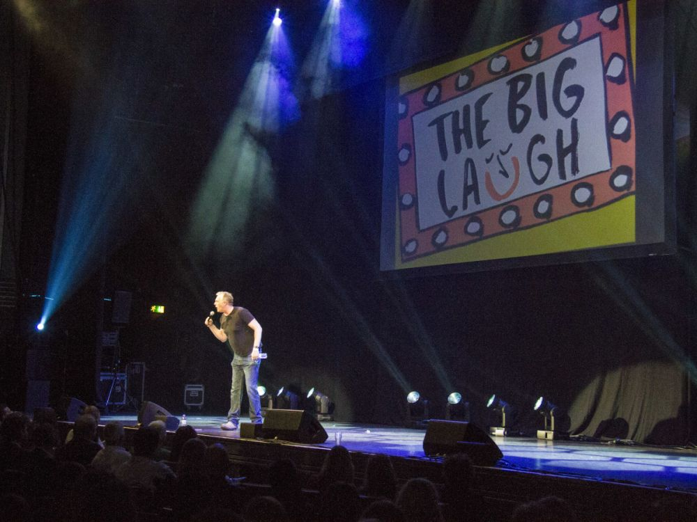 Greg Davies performing at The Big Laugh 2014, Thursday 8 May, Eventim Apollo, London.Greg Davies, Josh Widdicombe, Paul Chowdhry, Katherine Ryan, Dan Antopolski, Adam Buxton, The Boy with Tape on his Face and host Patrick Kielty and music by Eliza Doolittle