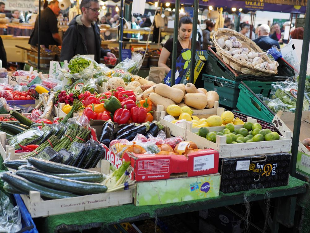 photo of fruit and veg stalls at St George's Market, Belfast