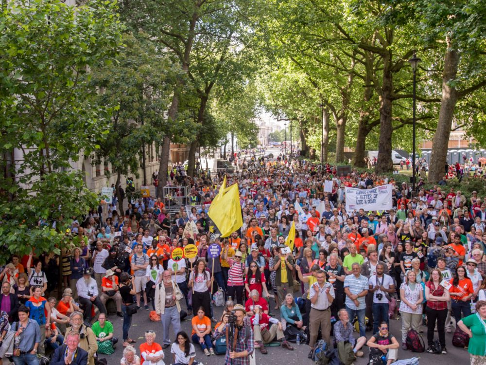 Rally at the end of The Climate Coaltion's Mass Climate Change Lobby of Parliament, Westminster. London, organised by The Climate Coalition, 17 June 2015.