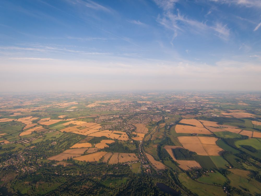 aerial photo of countryside around Brocton, UK