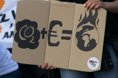 A placard at a climate change protest: carbon dioxide plus investment equals global warming
