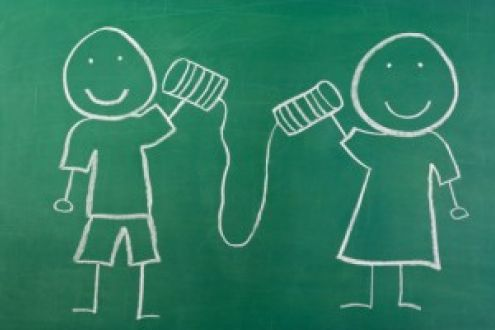 chalkboard cartoon of two children using a tin-can phone