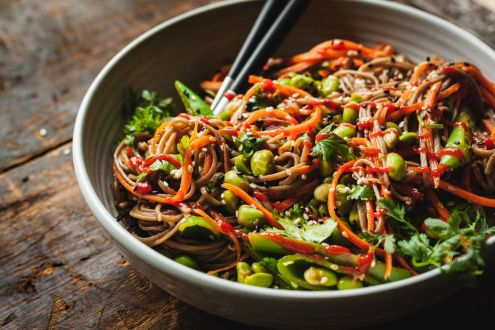 Vegetables with soba noodles