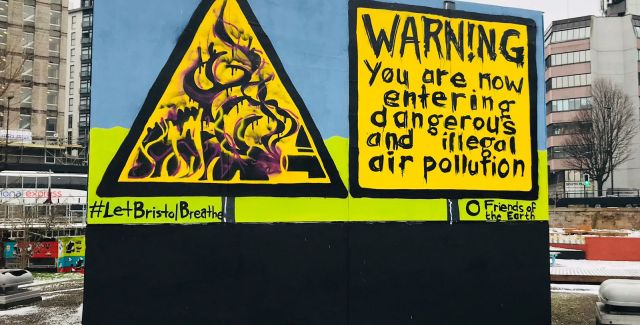Graffiti raising awareness of air pollution levels in Bristol