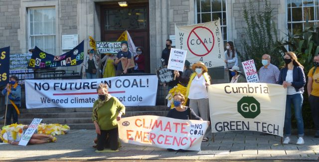 Protesters staged a protest against the proposed coal mine in Kendal. Image courtesy of Henry Adams.