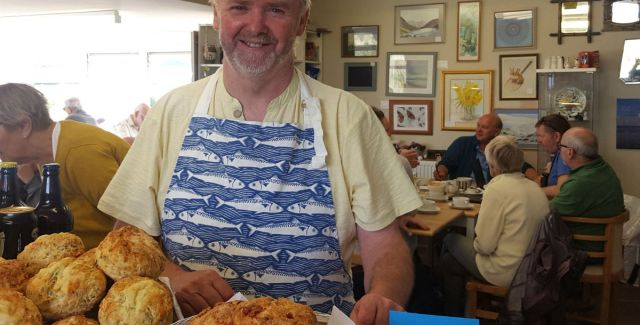 Duncan Lawrence working at the Drift cafe, which he owns, in Cresswell, Druridge Bay