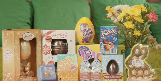 Selection of chocolate Easter eggs in varied packaging