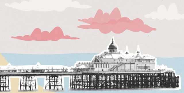 Creative illustration of Eastbourne beach pier