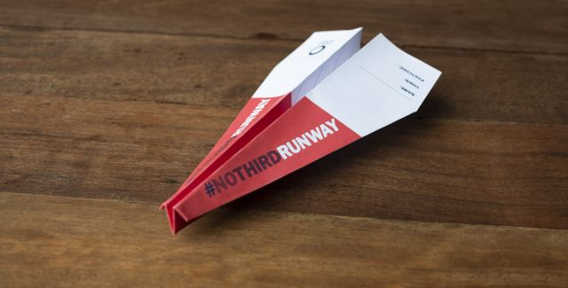 Paper plane with the hashtag #NoThirdRunway